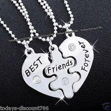 BEST Friends Forever Necklaces Heart Silver Xmas Gift For Her Girl Sisters Women