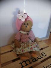 Peluche ours articulés robe verte fleurs chapeau Louise Mansen 25 cm Vintage