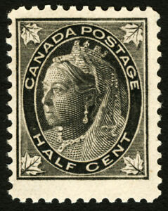 Canada #66 1/2c Black 1897 Queen Victoria Maple Leaf VF Mint Lightly Hinged