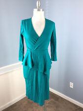 Garnet Hill Teal Green 100% wool Peplum Sheath dress 3/4 sleeve XS Career