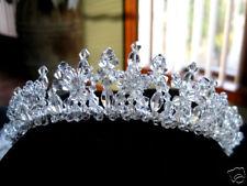 Clear Crystal Floral Bridal Tiara Headpiece Wedding