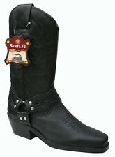Mens Cowboy Western Tall Black Genuine Leather Boots Style Kansas Chisel Toe