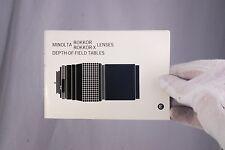 Minolta Rokkor/Rokkor-X Lenses Depth of Field Tables Guide (EN) 7210070