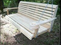 5Ft Cypress Roll Back Porch Swing W/ Swing Mate Comfort Springs & Cup Holder Arm