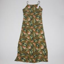 Sincerely Jules Women's Dress Viscose Palm Print Slip  Back Cut Out Tie Large