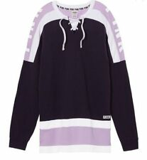 Victoria's Secret PINK NEW Oversize Lace Up Varsity Crew Plum Purple Small