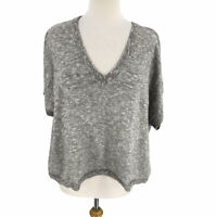 Madewell Women's Paulson Cropped Boxy Sweater Tee Size XL Gray