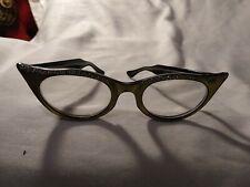"""Vintage 1950's 5 1/2"""" Women's Plastic Cat Eye Glasses"""