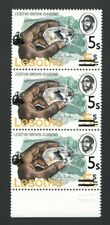 Lesotho 1980, 2nd surcharge albino. Fine u/m strip of 3