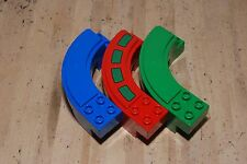Lot of 3 Lego Duplo Curved Mono Rail Tracks Blue Red Green