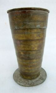 Vintage Old Hand Crafted Brass North Indian Folding Lassi Glass Cup Tumbler