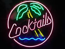 """""""Cocktail"""" Coconut Tree Neon Sign Gift Vintage Store Decor Boutique Custom Wall"""