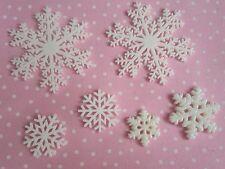 Resin FlatBack x6 Snowflake Christmas Cabochon 3D Phone Decoden Kawaii Craft