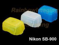 Blue Yellow white kit Bounce Flash Diffuser Nikon Flashgun SB910 SB900 US Seller