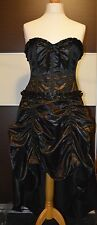 Black satin gothic victorian steampunk whitby ball corset dress christmas L/XL