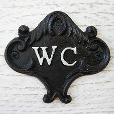 VINTAGE/Stile Vittoriano Ghisa Nero Bianco WC segno metallo Loo Bagno Placca