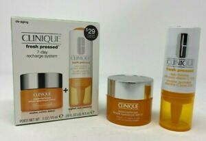 CLINIQUE FRESH PRESSED 7 Day Recharge System - D-Aging Combo/Oily Skin- NIB