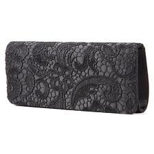 Women's Floral Lace Evening Party Clutch Bags Bridal Wedding Purse Handbag Black