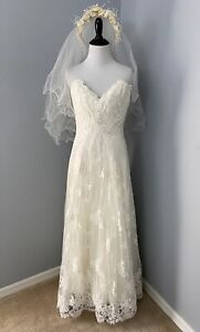 Anna Maier Woman's Ivory Lace Wedding Dress Size 0 Sweetheart Strapless + Veil