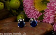 2.00CT ROUND BLUE SAPPHIRE BRIDAL STUD EARRINGS 14CT SOLID WHITE GOLD