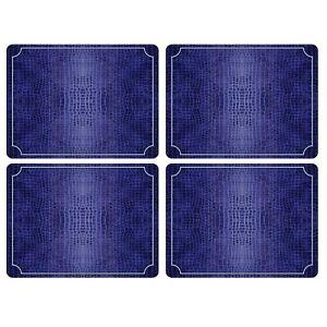 Pimpernel Placemats, Blue Croc Leather, Set of 4 (2010648725)