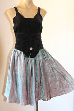 VINTAGE VELVET KITTEN BOW SWINGY TWO-TONE COCKTAIL PARTY DRESS 10