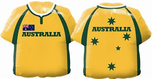 "AUSTRALIA DAY BALLOON 22"" ANZAC DAY PARTY SUPPLIES RUGBY SHIRT FOIL BALLOON"