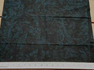BATIK Premium Cotton Fabric Quilt Craft BLACK Blue Green Marbled Watered  1YD