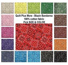 Blazin Bandanna 100% Cotton Fabric PICK SIZE & COLOR - good for quilts