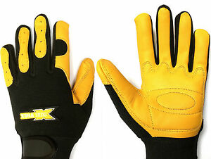 Gardening Leather Work Gloves Comfort Fit Stretch Back Padded Palm Work Gloves