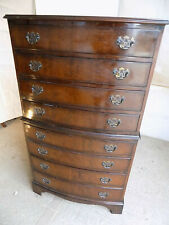 More details for antique,20thc,repro,bow front,chest on chest,bracket feet,brass handles,drawers