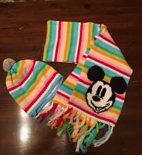 Disney Store Mickey Mouse Hat With Pom & Scarf Rainbow Stripes Multicolor Fringe
