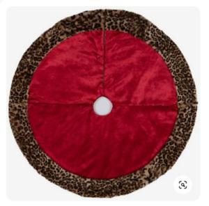 """Red Velvet with Fux Fur Leopard Trim Christmas Tree Skirt 48"""" Diameter"""