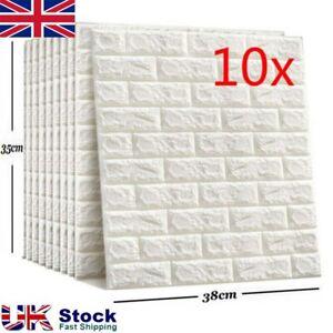 10X Self-adhesive 3D Tile Brick Wall Sticker Wallpaper Waterproof Foam Panel~