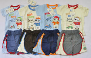 100% Cotton Baby boys 2pc SET top + shorts 6-12 months OUTFIT Summer NEW