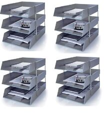 12 GREY A4 Letter Filing In Out Desk Trays + 8 Risers Stacking Paper Office