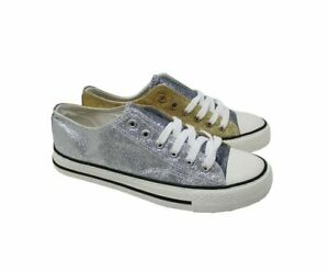 Ladies Gold & Silver Glitter Lace Up Pumps With Rubber Sole UK Size 3,4,5,6,7,8