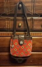 Brighton Red Suede Floral Print/Brown Leather Moc  Croc/Medium Handbag