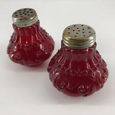 Vintage Ruby Red Glass Salt and Pepper Shaker Set