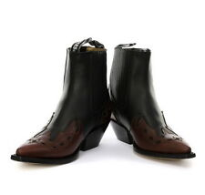 Grinders Low Unisex Leather Cuban Heel Cowboy Boots Black Brand