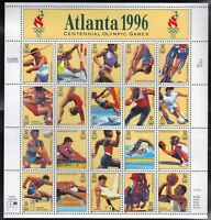 1996 Atlanta Summer Olympics Games Sheet of Twenty 32 Cent Stamps Scott 3068