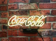 "Coca Cola Yellow Neon Light Sign Lamp Beer 14"" Real Glass Acrylic Decor Bar Gift"