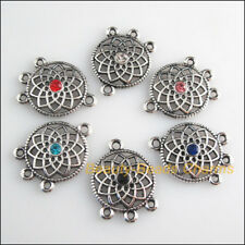 12 New Charms Mixed Crystal Round Flower Connector Tibetan Silver Tone 18x24.5mm