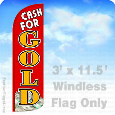 Cash For Gold - Windless Swooper Flag Feather Banner Sign 3'x11.5' rq