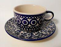 Schöne Tasse mit Unterteller / Untertasse aus Bunzlauer Keramik 200 ml (ta54)