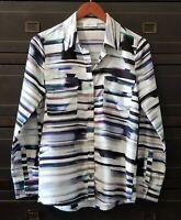Calvin Klein Womens Abstract Print Shirt Top Blouse Long Sleeve Button Down Sz S