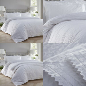 White Broderie Anglaise Lace Trim Embroidered Duvet Quilt Cover Set Bedding