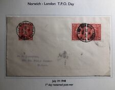1948 Norwich England First Day Cover Traveling Post Office Tpo To Slough