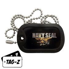 Military Dog Tag Necklace -  U.S. NAVY SEAL TAG  with a Dog Tag Silencer