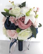 17 piece set Wedding Bouquet Bridal Silk Flowers Bouquets MAUVE PINK BLUSH NAVY